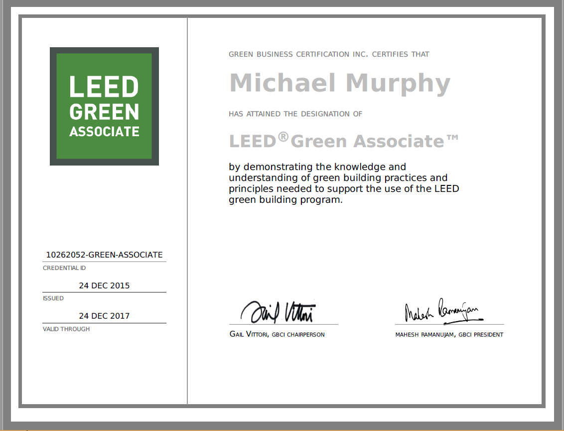 Certificates mcj cleaning leed green associate xflitez Choice Image
